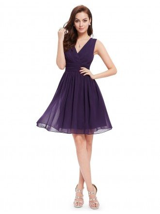 A-line V-neck Knee-length Pleated Chiffon Bridesmaid Dress