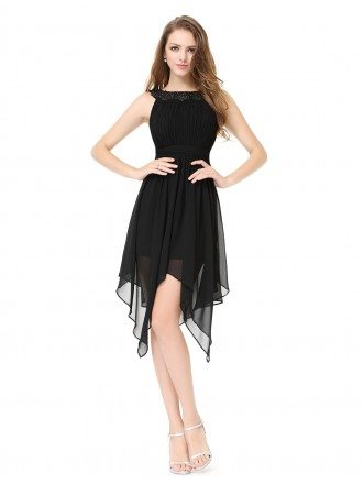 A-line Scoop Neck High Low Party Dress With Beading