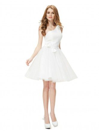 A-line One-shoulder Short Party Dress With Bow