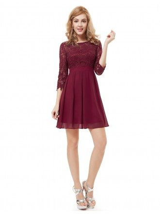 A-line Cute Lace Short Cocktail Dress With Half Sleeves