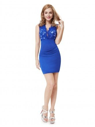 Sheath V-neck Short Cocktail Dress With Lace
