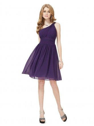 A-line One-shoulder Knee-length Chiffon Bridesmaid Dress