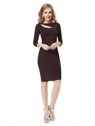 Sheath High Neck  Knee-length Formal Dress With Half Sleeves