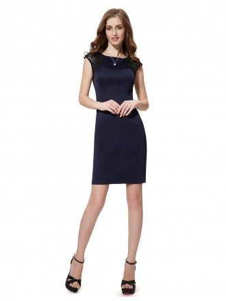 Sheath Scoop Neck Short Cocktail Dress With Lace Sleeves
