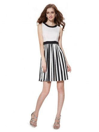 A-line Scoop Neck Short Casual Dress for Summer