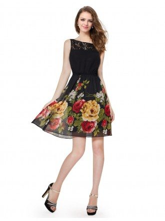 A-line Scoop Neck Short Floral Print Casual Dress for Summer