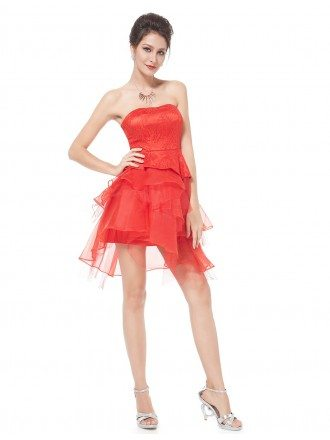 A-line Strapless Short Homecoming Party Dress With Lace