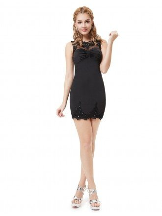 Sheath Scoop Neck Mini Cocktail Dress With Lace