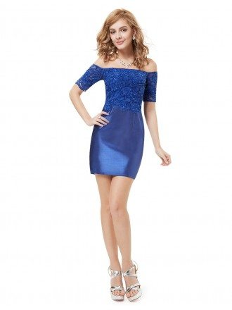 Sheath Off-the-shoulder Mini Cocktail Dress With Lace
