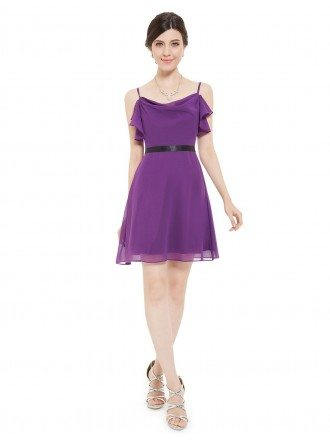 A-line Round Neck Short Bridesmaid Party Dress With Straps