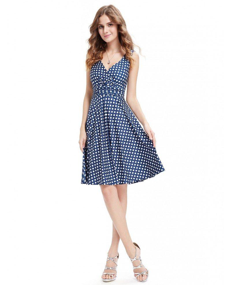 A-line V-neck Knee-length Polka Dot Summer Dress #HE05294BW $29 ...