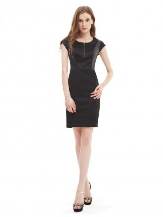 Sheath Round Neck Casual Black Dress With Cap Sleeves