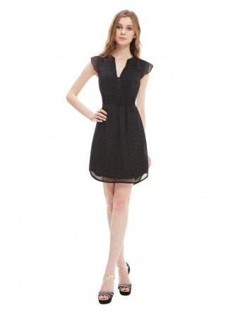 A-line V-neck Short Casual Dress With Cap Sleeves
