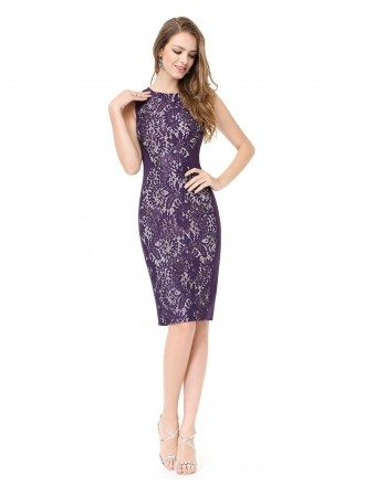 Sheath Scoop Neck Knee-length Lace Cocktail Dress