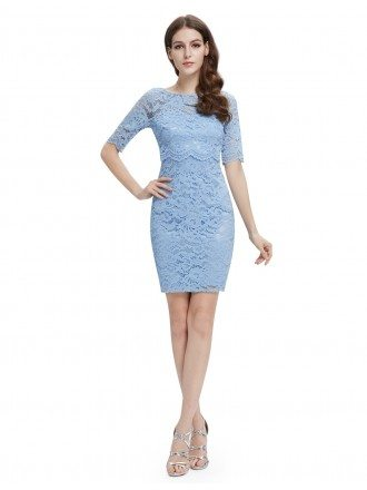 Sheath Round Neck Short Lace Party Dress With Sleeves