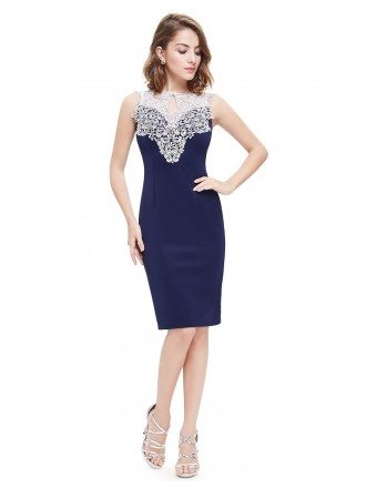 Sheath Round Neck Knee-length Cocktail Dress With Lace