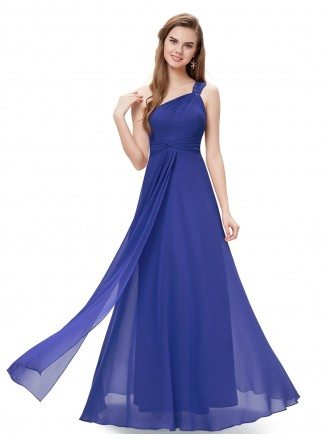 A-line One-shoulder Floor-length Bridesmaid Dress