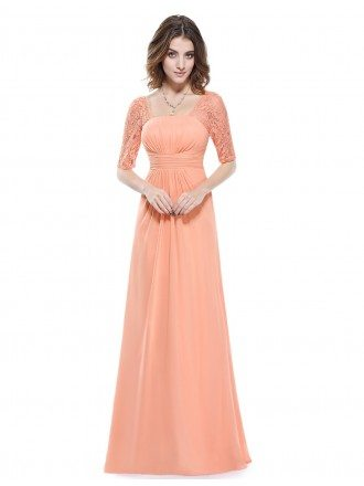 Empire Square Neckline Floor-length Bridesmaid Dress With Lace Sleeves