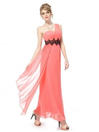 Empire One-shoulder Ankle-length Bridesmaid Dress With Lace