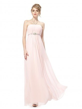 Empire Strapless Floor-length Formal Dress With Rhinestone