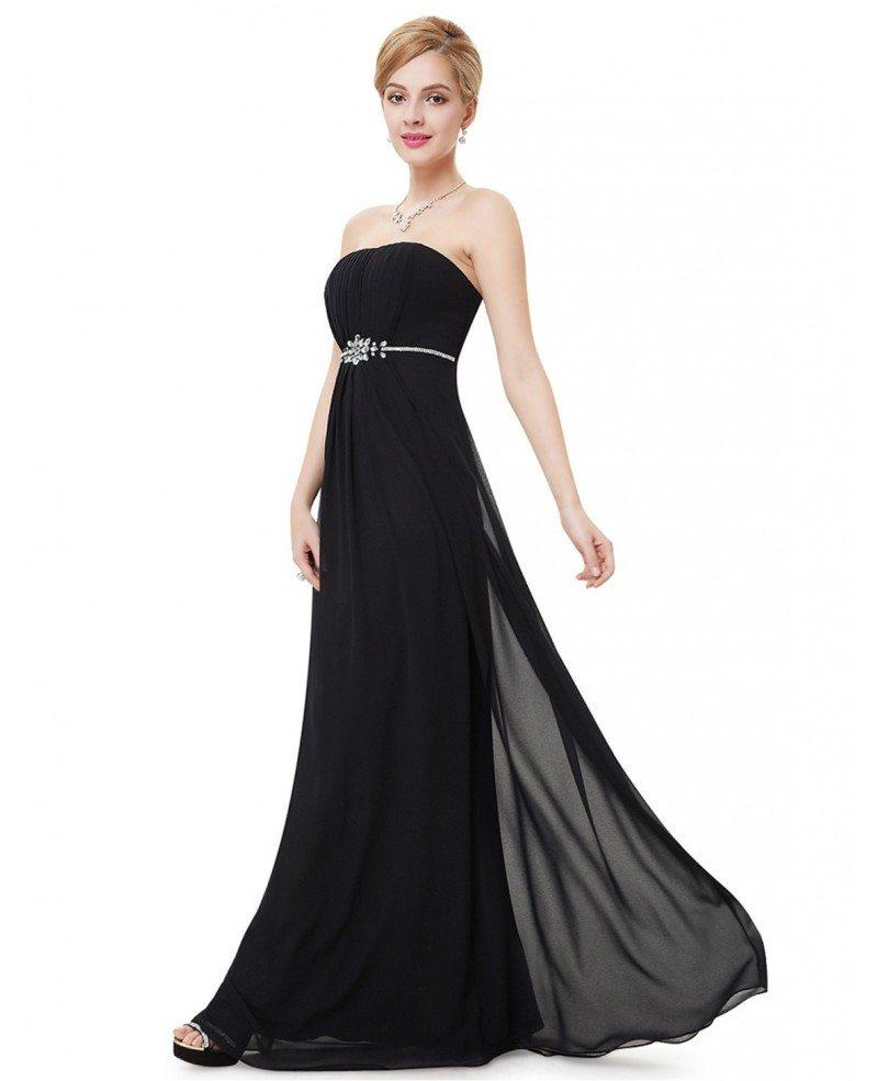Empire Strapless Floor-length Formal Dress With Rhinestone