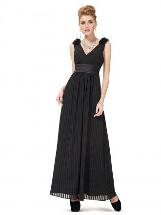 A-line V-neck Ankle-length Pleated Evening Dress With Open Back