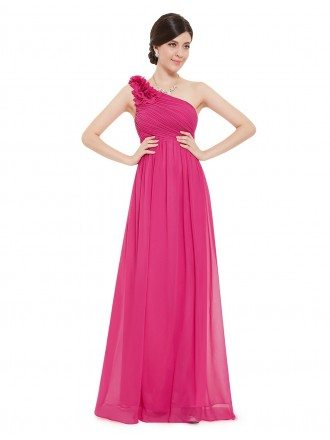 A-line One-shoulder Floor-length Bridesmaid Dress With Ruffles