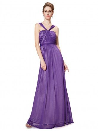 A-line Halter Pleated Floor-length Bridesmaid Dress
