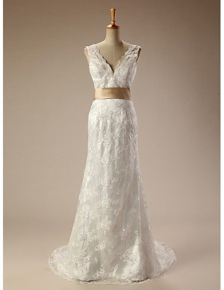 long vneck lace wedding dress with bow knot in back
