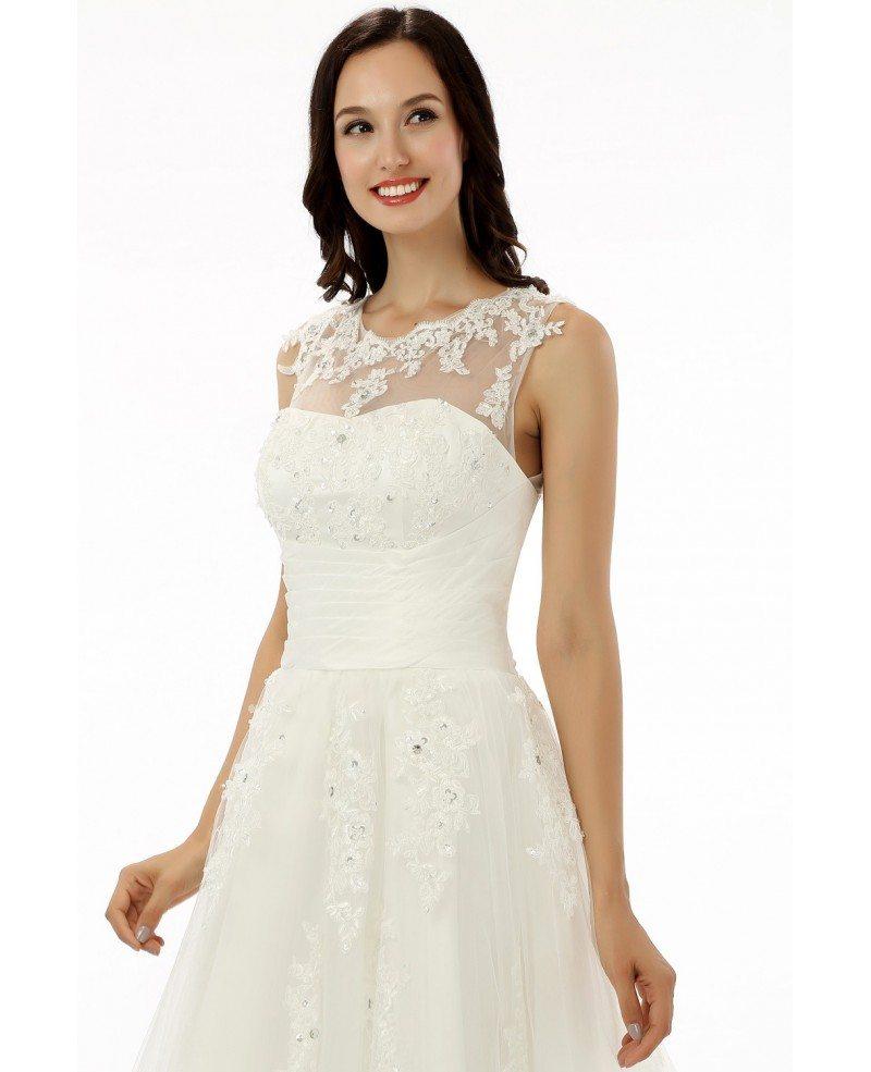 A-line Tea-length Wedding Dress For Older Brides Lace