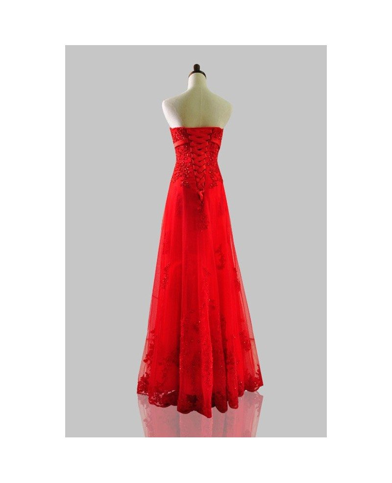red sequined lace long tulle wedding party dress