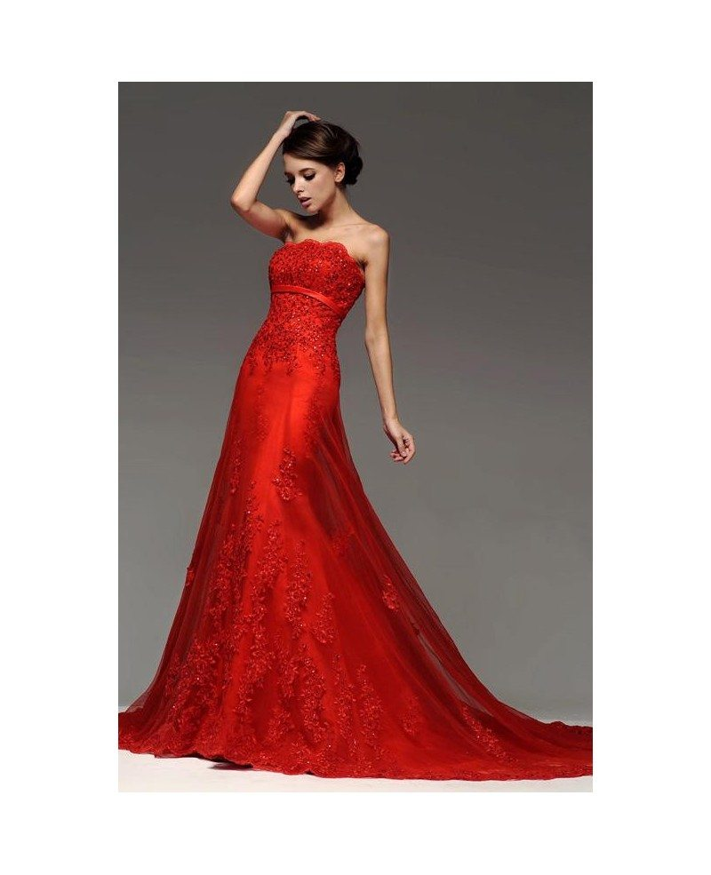 Red sequined lace long tulle wedding party dress bs095 for Dresses for wedding party