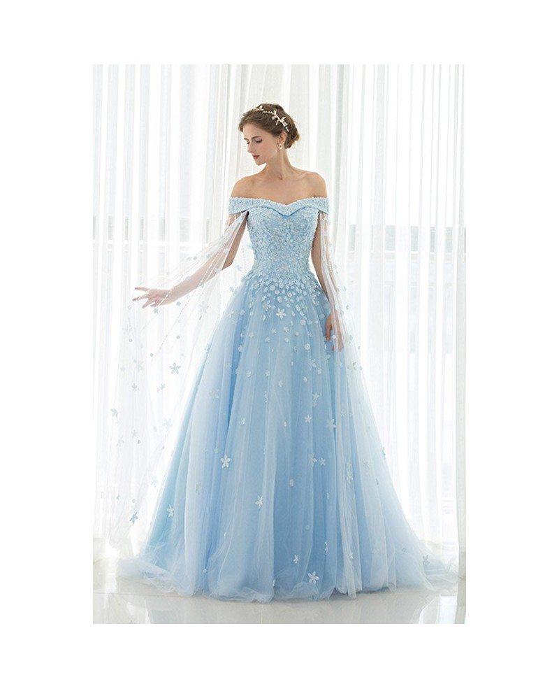 Blue Floral Off The Shoulder Long Tulle Wedding Dress