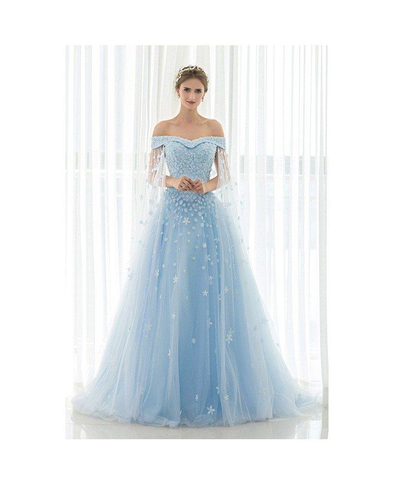 Blue Floral Off the Shoulder Long Tulle Wedding Dress #CH0087 $197 ...
