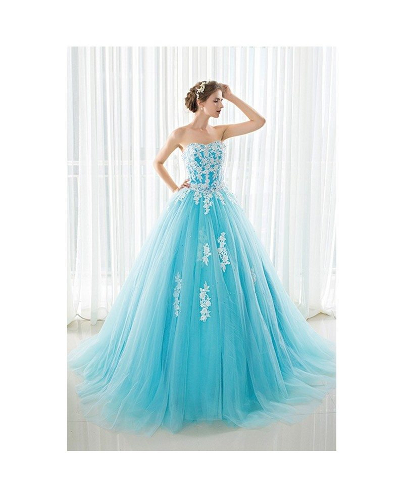 Blue Long Tulle Lace Strapless Ballgown Wedding Dress #CH0085 $157 ...