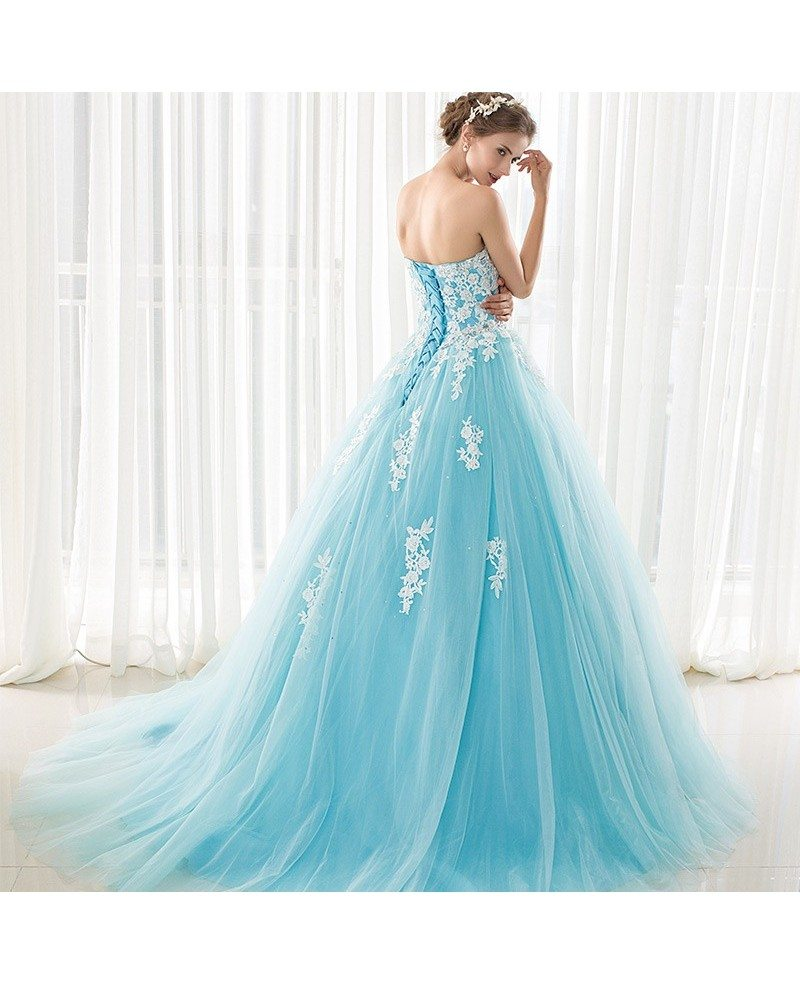 Blue long tulle lace strapless ballgown wedding dress for Long blue dress for wedding