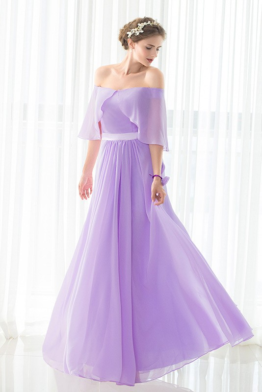 Off The Shoulder Purple Long Chiffon Elegant Bridesmaid