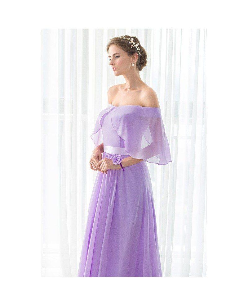 Off the Shoulder Purple Long Chiffon Elegant Bridesmaid Dress ...