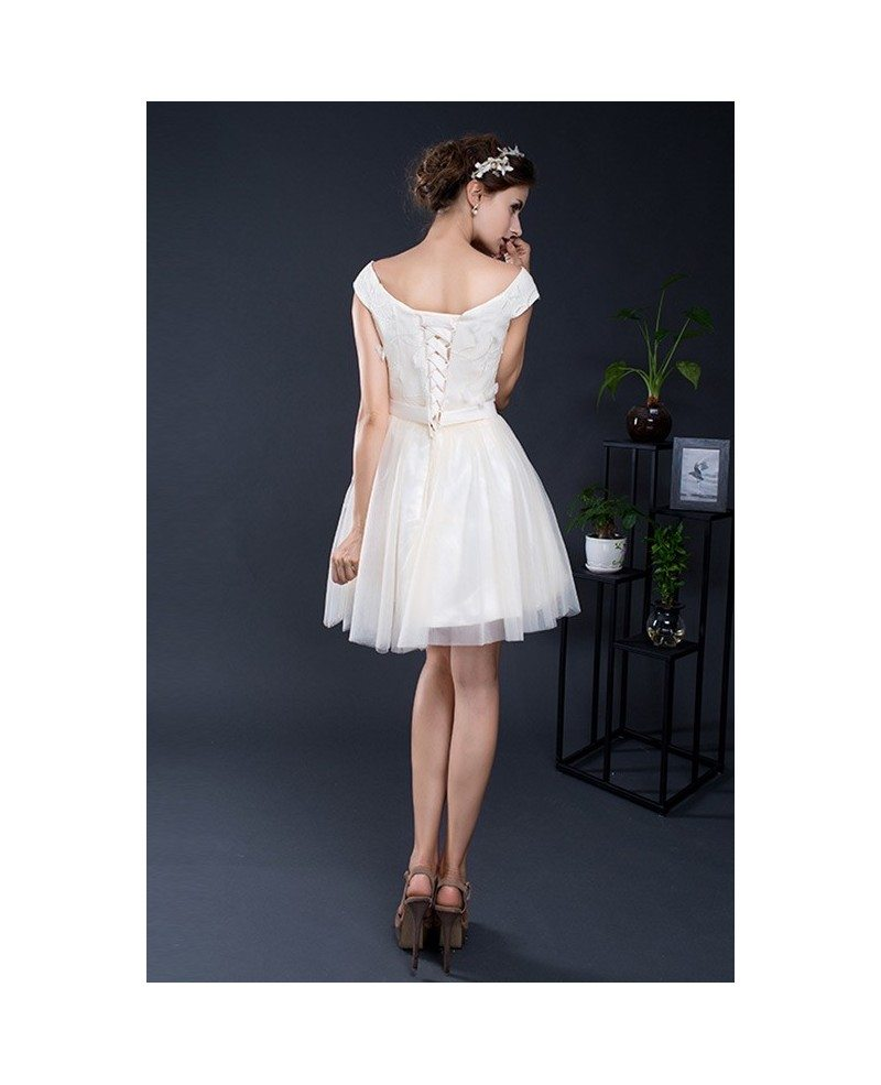 Cap sleeve champagne short tulle dress yh0103a 75 for Short champagne wedding dress