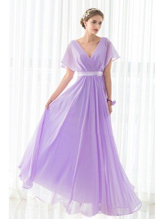 V-neck Purple Long Chiffon Elegant Bridesmaid Dress