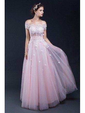 Gorgeous Lace Off the Shoulder Long Tulle Bridal Party Dress