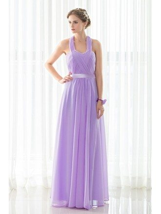 Purple Long Halter Chiffon Elegant Bridesmaid Dress