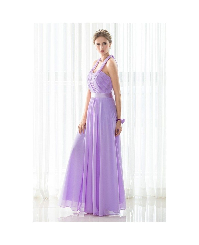 Purple Long Halter Chiffon Elegant Bridesmaid Dress