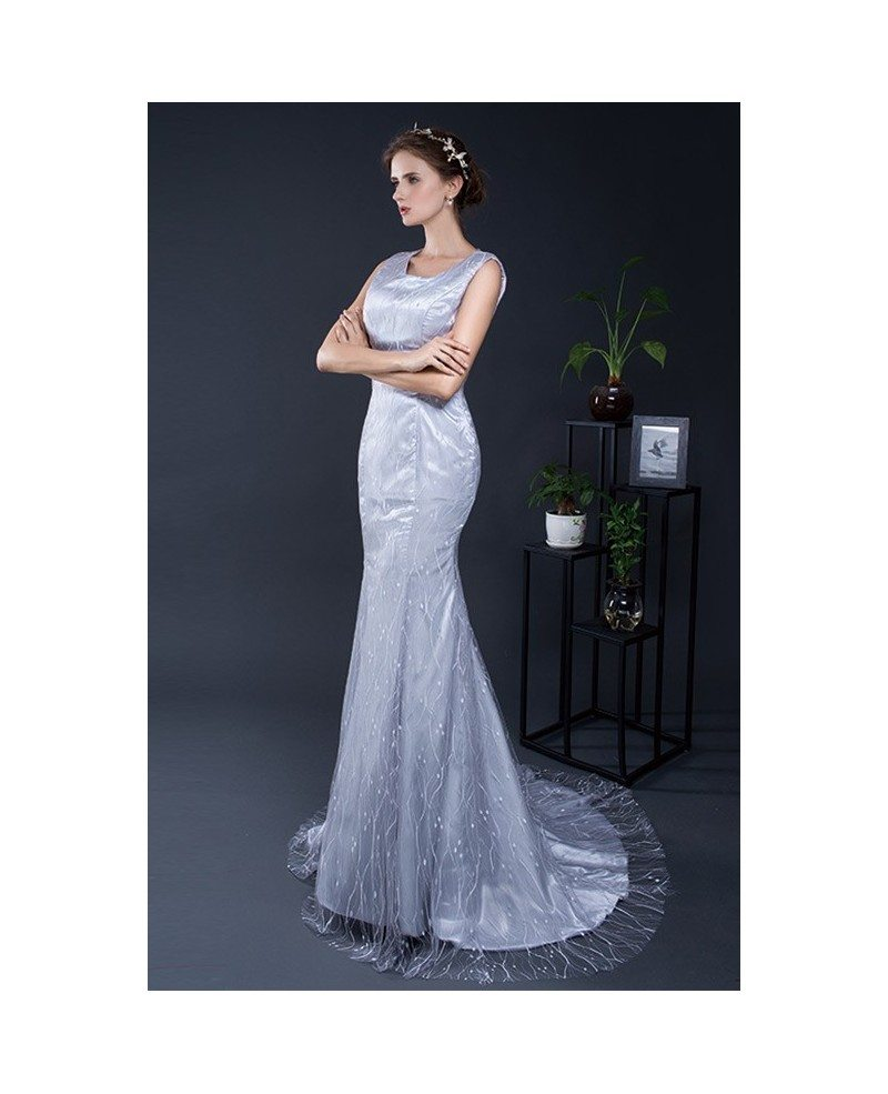 Elegant mermaid beaded long grey evening dress cy0286 105 elegant mermaid beaded long grey evening dress ombrellifo Image collections