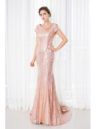 Sparkle Gold Sequins Long Mermaid Evening Dress Short Sleeves
