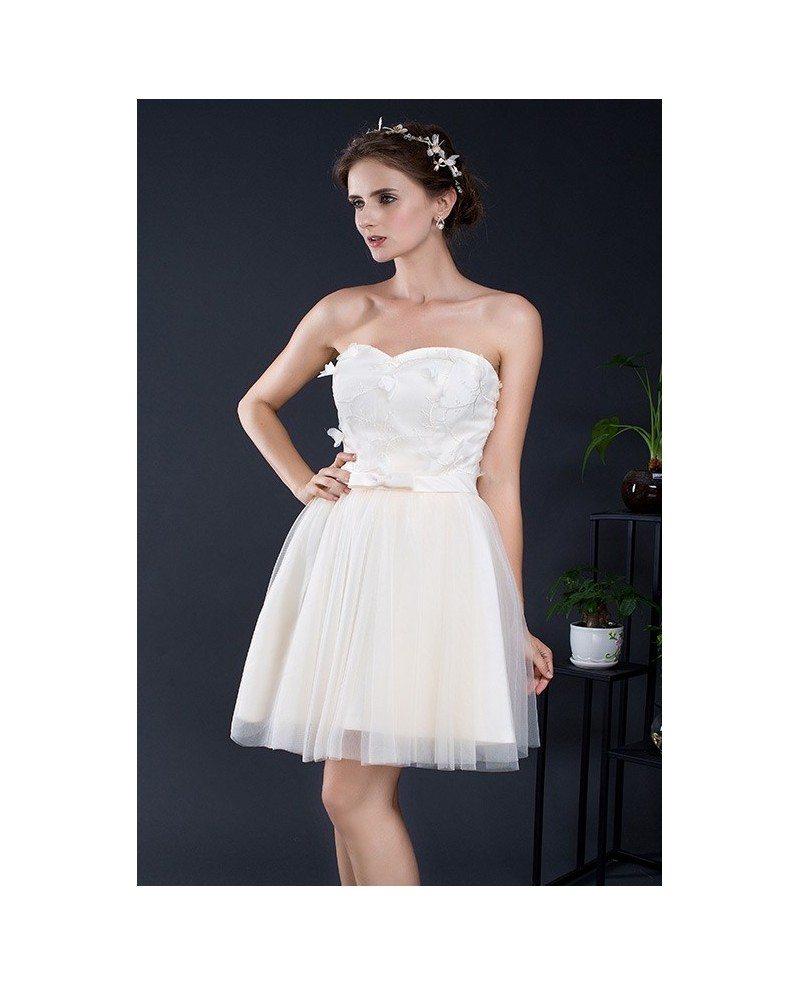 Sweetheart champagne short tulle dress yh0103d 75 for Short champagne wedding dress