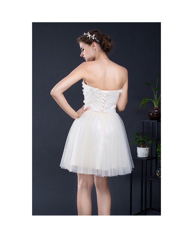 Sweetheart champagne short tulle dress yh0103d 75 for Short sweetheart wedding dress