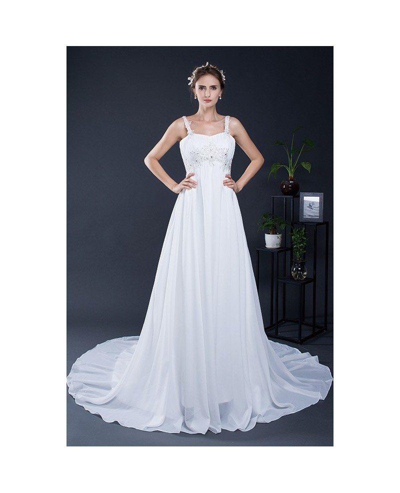 Simple Empire Waist Pregnant Wedding Dress For The Beach