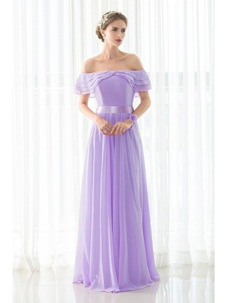 Stylish Purple Long Chiffon Off Shoulder Bridesmaid Dress