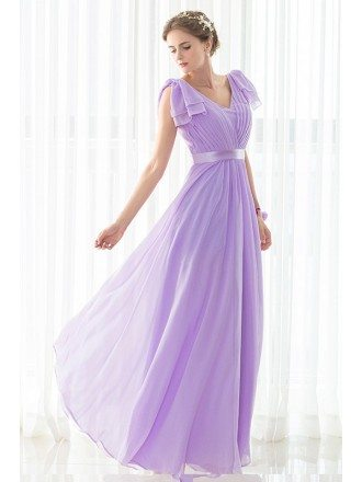 Purple Long Pleated Chiffon Elegant Bridesmaid Dress